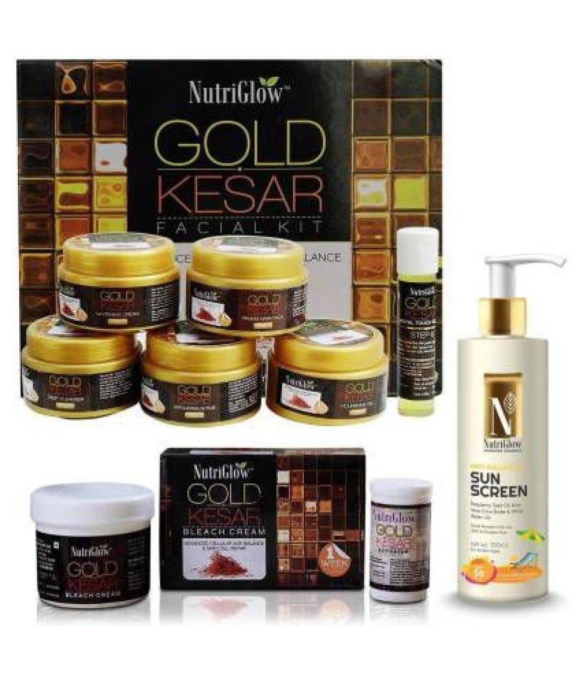 Nutriglow Gold Kesar With Bleach Facial Kit 260+43 +Sun Screen SPF50 g Pack of 3