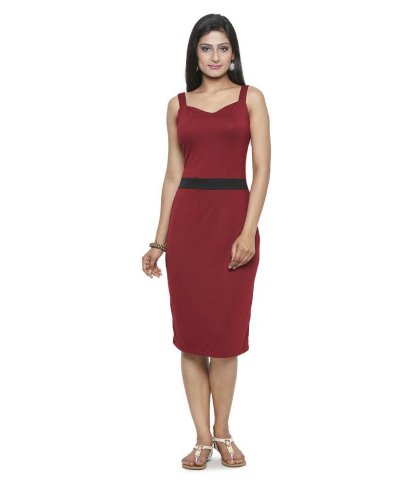 Five-Stones Poly Viscose Maroon Regular Dress