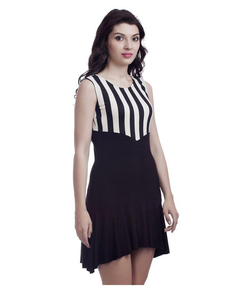 Five-Stones Viscose Black Asymmetric dress