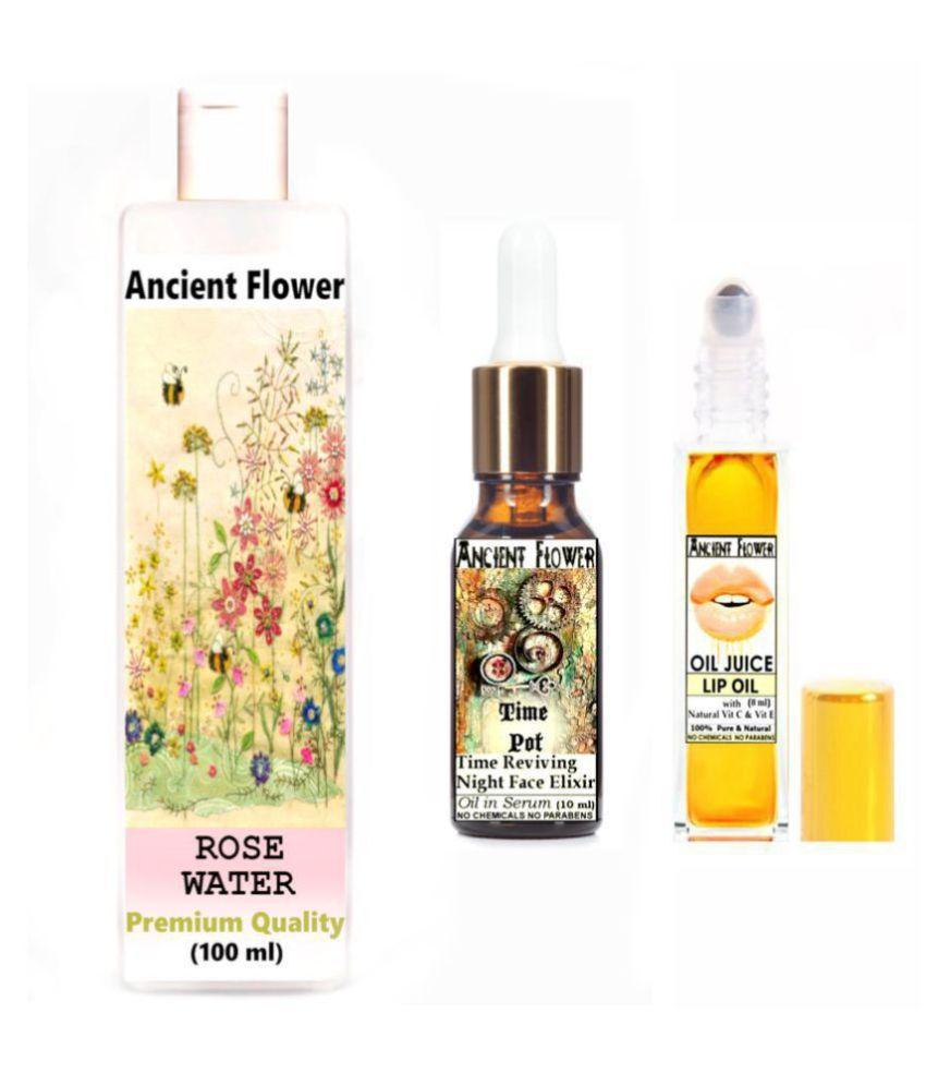 Ancient Flower - Rose Water, Oil Juice Lip Oil & Time Pot - Face Serum 118 mL