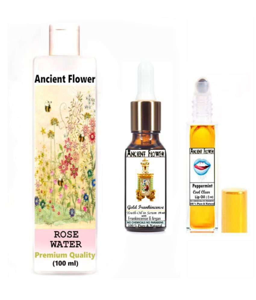 Ancient Flower Rose water, Peppermint Lip Oil, Gold Frankincense Face Serum 118 mL