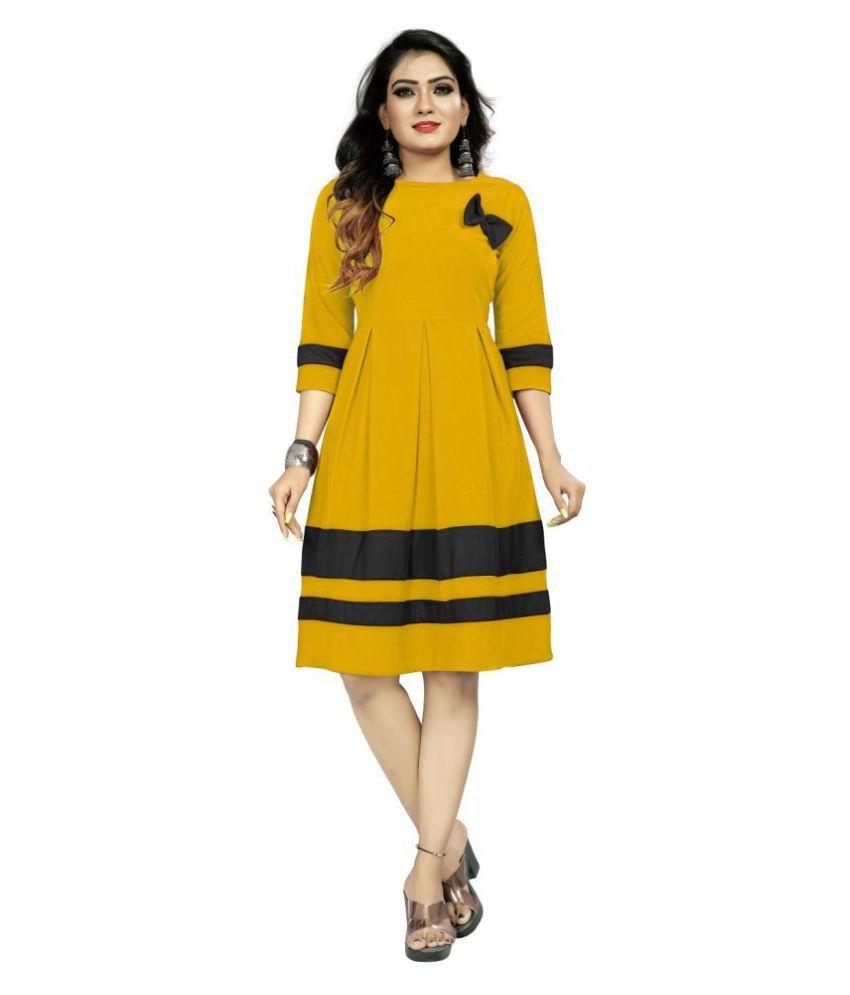 Shital Fashion World Polyester Yellow A- line Dress