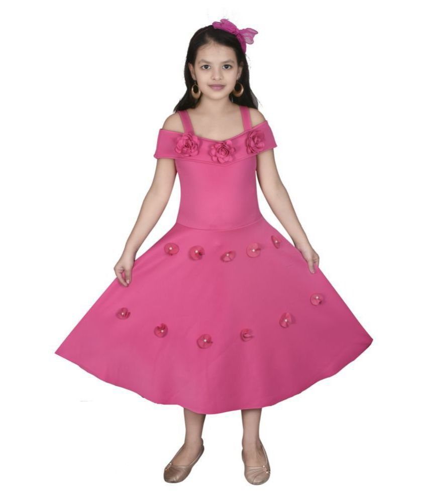 Sky Heights Scuba Moti Cold Shoulder Party Wear Dress For Girls.