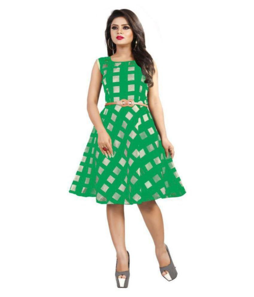 TRENDFEBWER Cotton Lycra Green Fit And Flare Dress