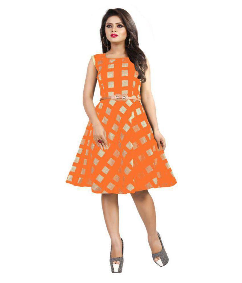 TRENDFEBWER Cotton Lycra Orange Fit And Flare Dress