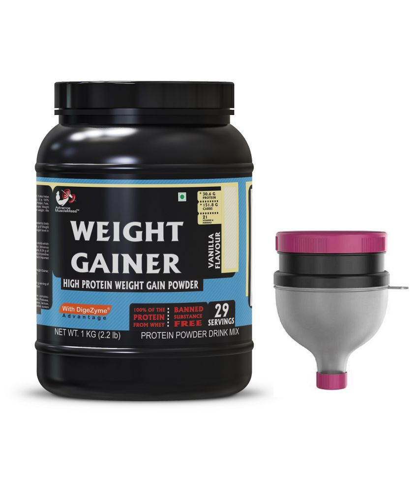 Advance MuscleMass Weight Gainer  Digestive Enzyme Blend with Funnel 1 kg Weight Gainer Powder