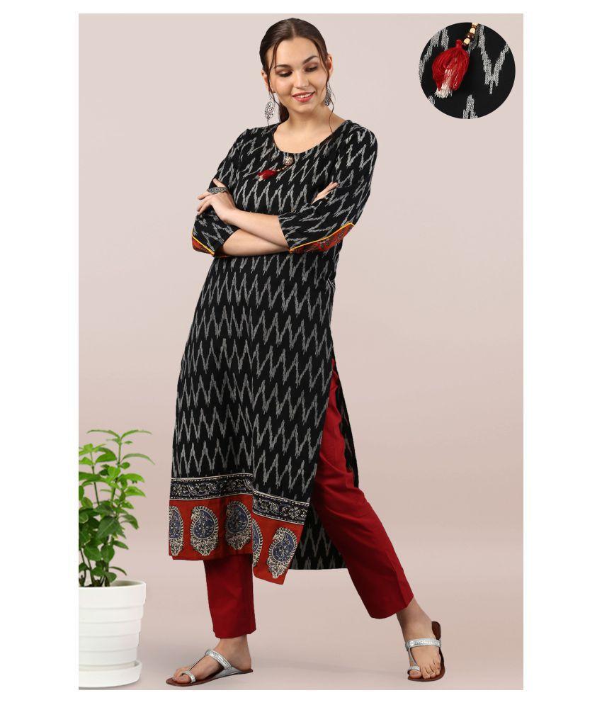 Janasya Black Cotton A-line Kurti