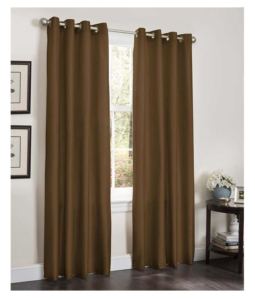 R home Set of 2 Door Eyelet Polyester Curtains Brown