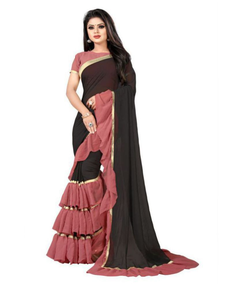 C&H Black,Red Georgette Saree