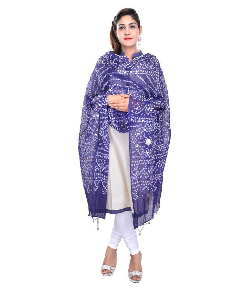 Rajasthani Sarees Blue Cotton Bandhej Dupatta