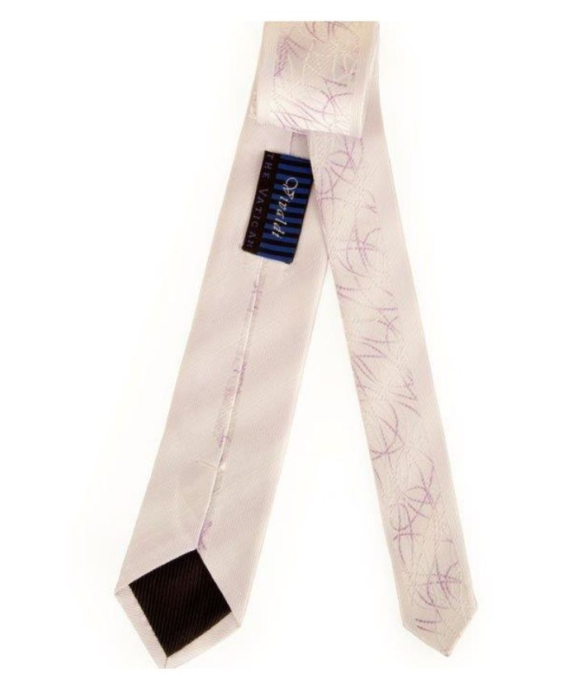 The Vatican White Abstract Micro Fiber Necktie