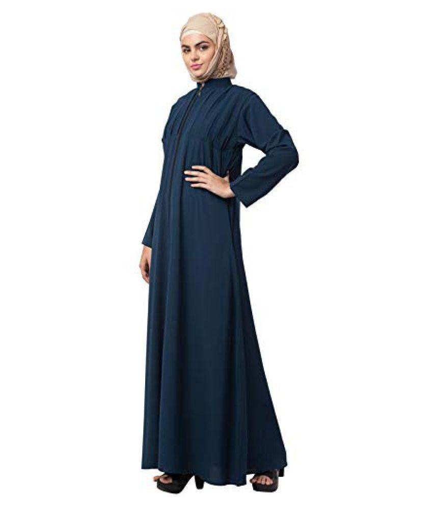 Mahila Hub Green Crepe Stitched Burqas without Hijab
