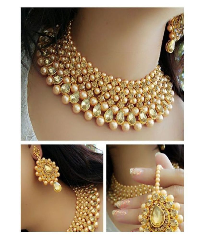 Navya Collections Alloy Golden Choker Contemporary/Fashion Gold Plated Necklaces Set