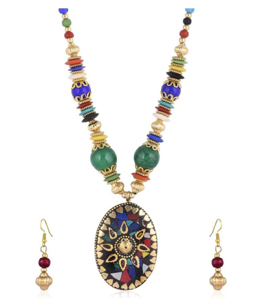 Navya Collections Alloy Multi Color Long Haram Contemporary/Fashion None Necklaces Set