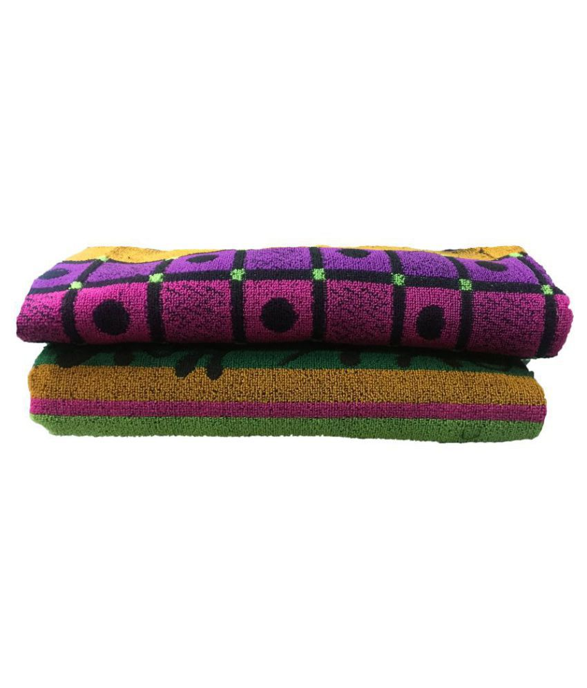 Varun Set of 2 Cotton Bath Towel Black