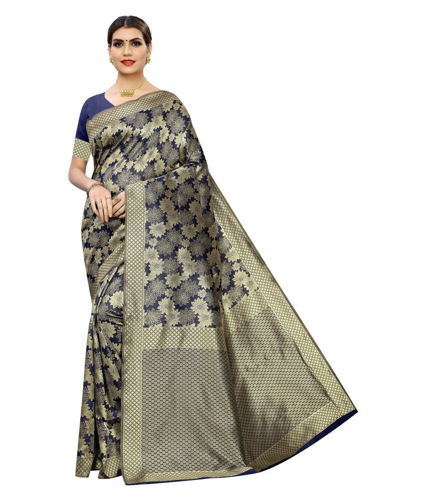 POOJARAN SAREE Blue Banarasi Silk Saree
