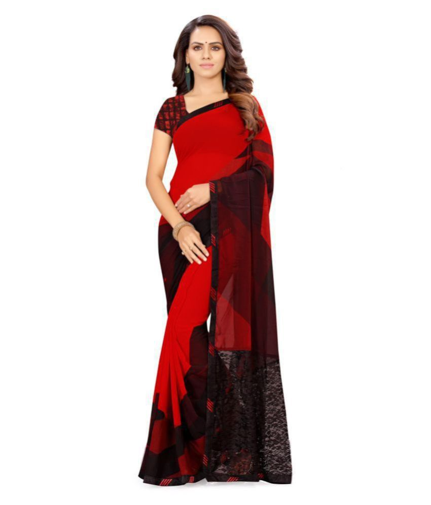 Shaily Red,Black Georgette Saree
