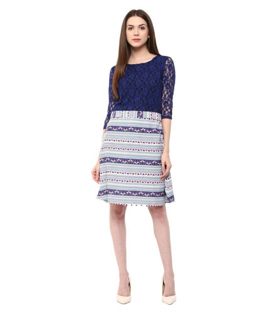 Taaruush Crepe Blue A- line Dress