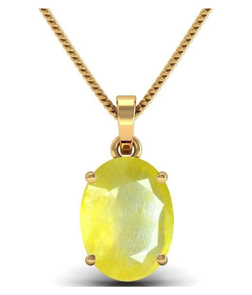 A1 Gems 7.25 Ratti 6.42 Carat A+ Quality Yellow Sapphire Pukhraj Gemstone Pendant For Men and Women's