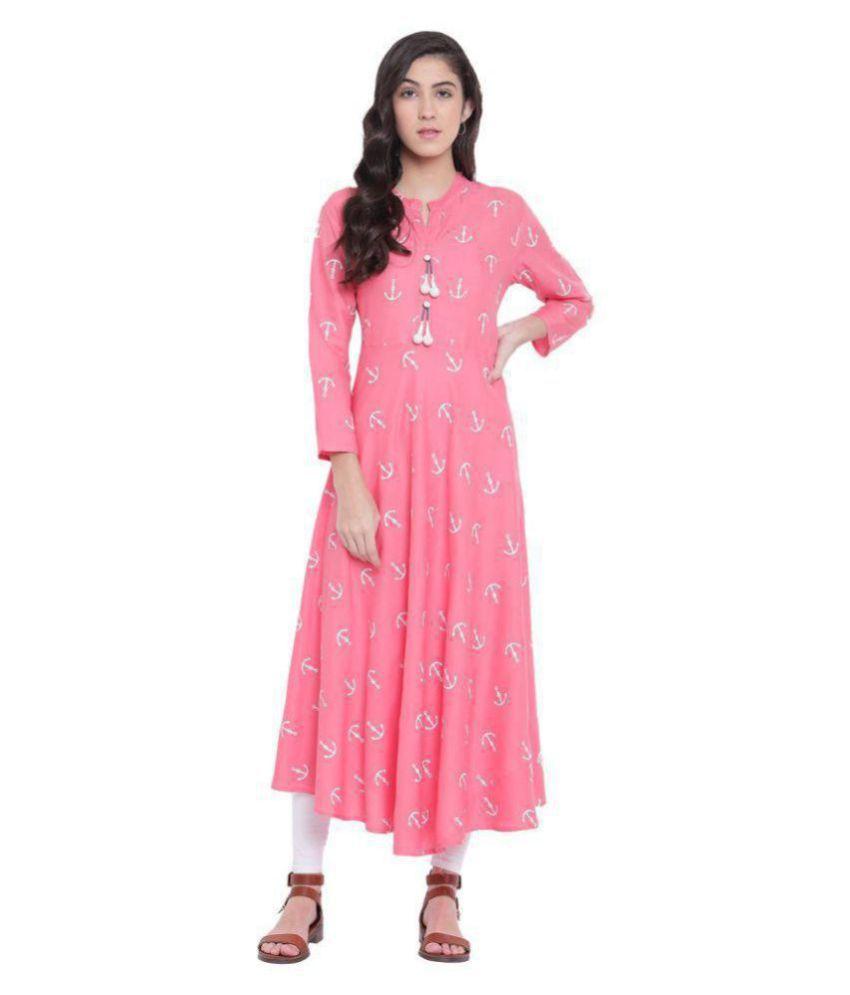 LOPA Pink Rayon A-line Kurti