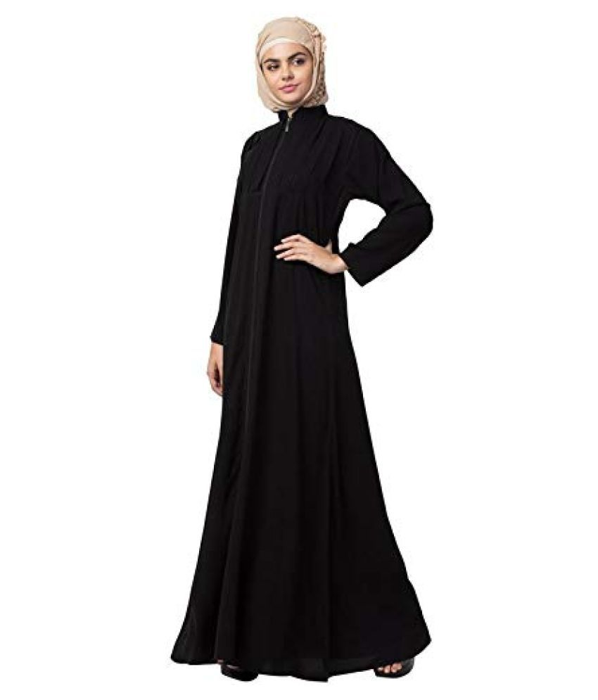 Mahila Hub Black Crepe Stitched Burqas without Hijab