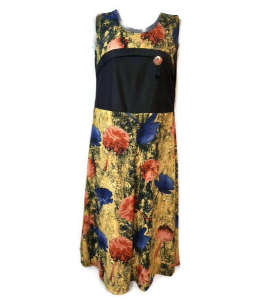 PALLAVI KOLLECTION Polyester Yellow A- line Dress