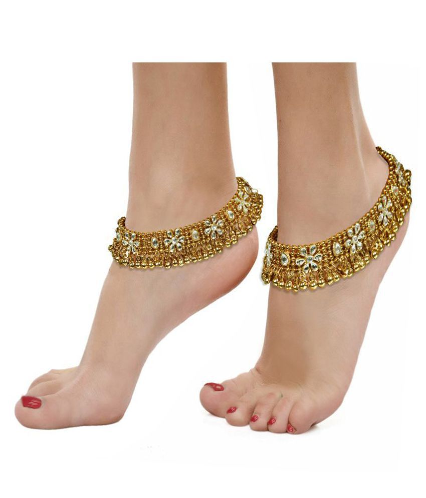 Dipali Golden Ethnic Antique Kundan Studded Alloy Anklet