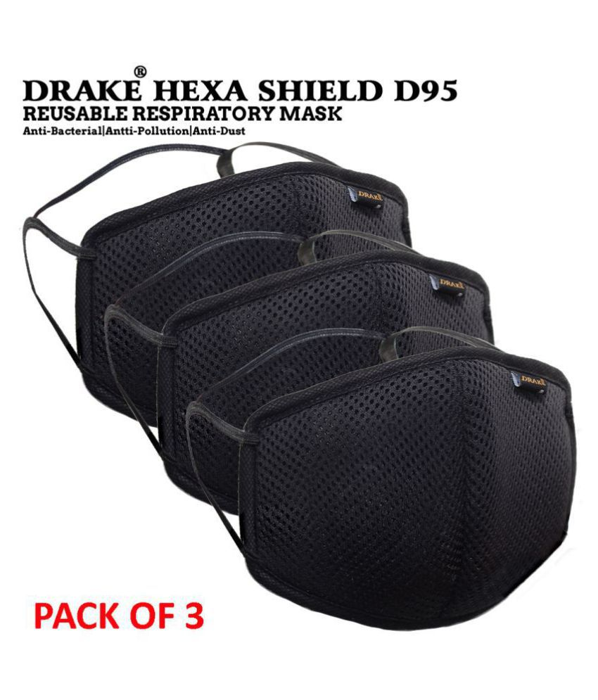Drake 6 Layer Protection Reusable D95 Face Mask  2 in 1 Loop  Ear Loop and Head Loops  Pack of 3