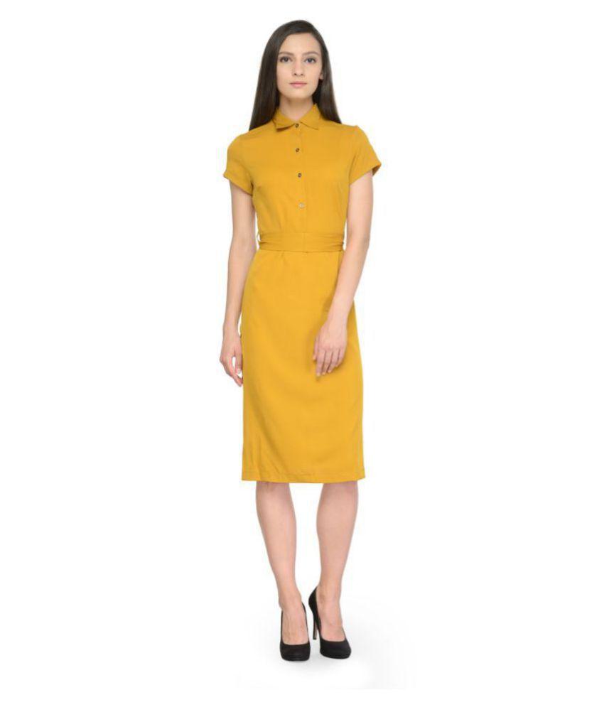 TUNIC NATION Crepe Yellow Regular Dress