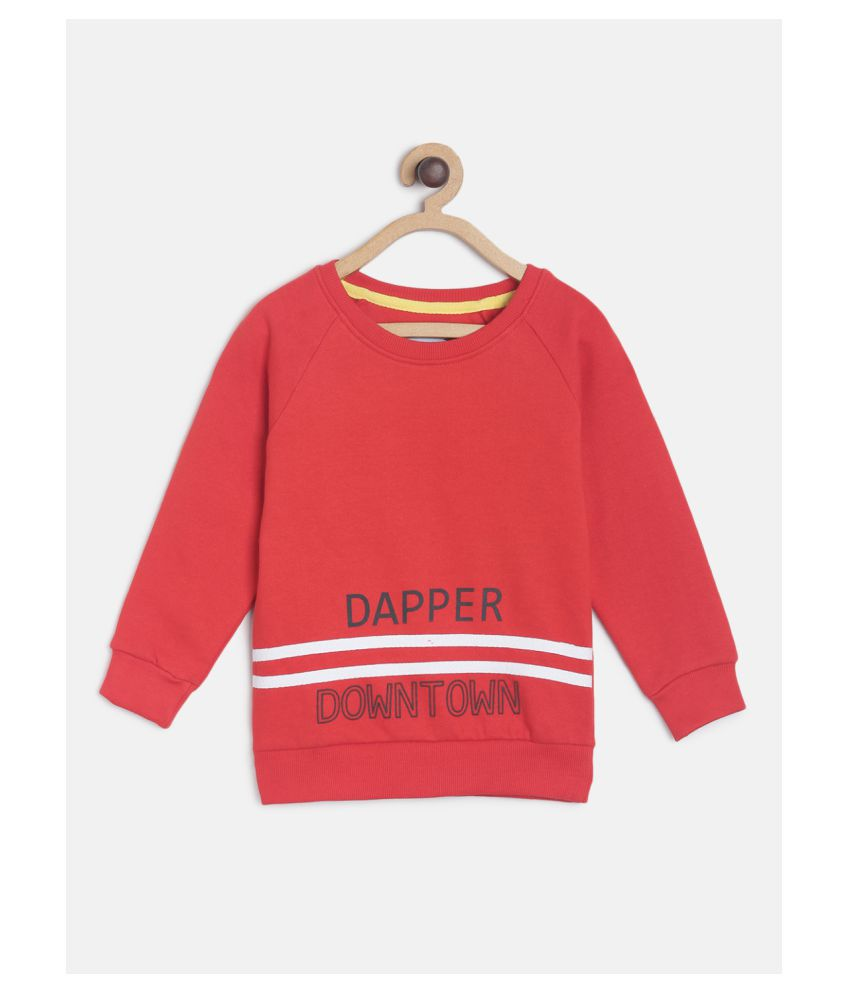Tales & Stories Boys Cotton Solid Pattern Red Full Sleeve Sweartshirt