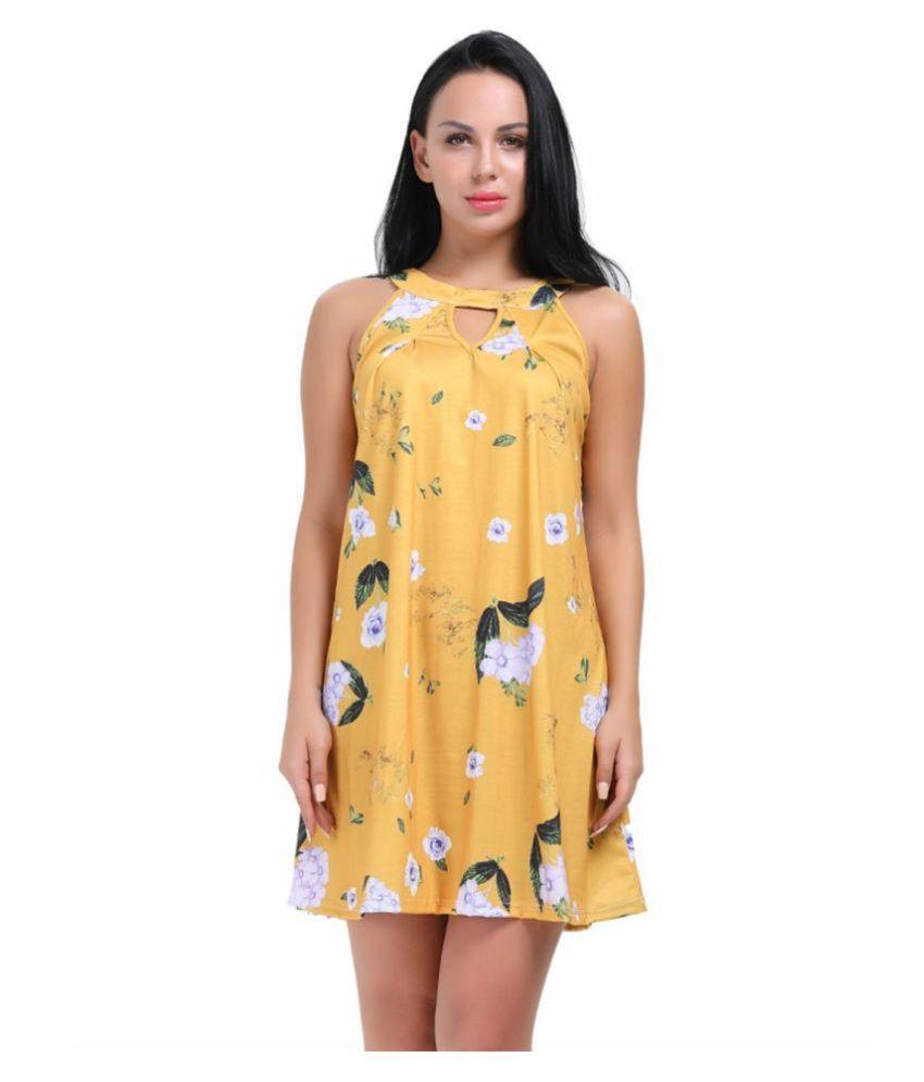 Cloe Valentine Polyester Yellow Regular Dress