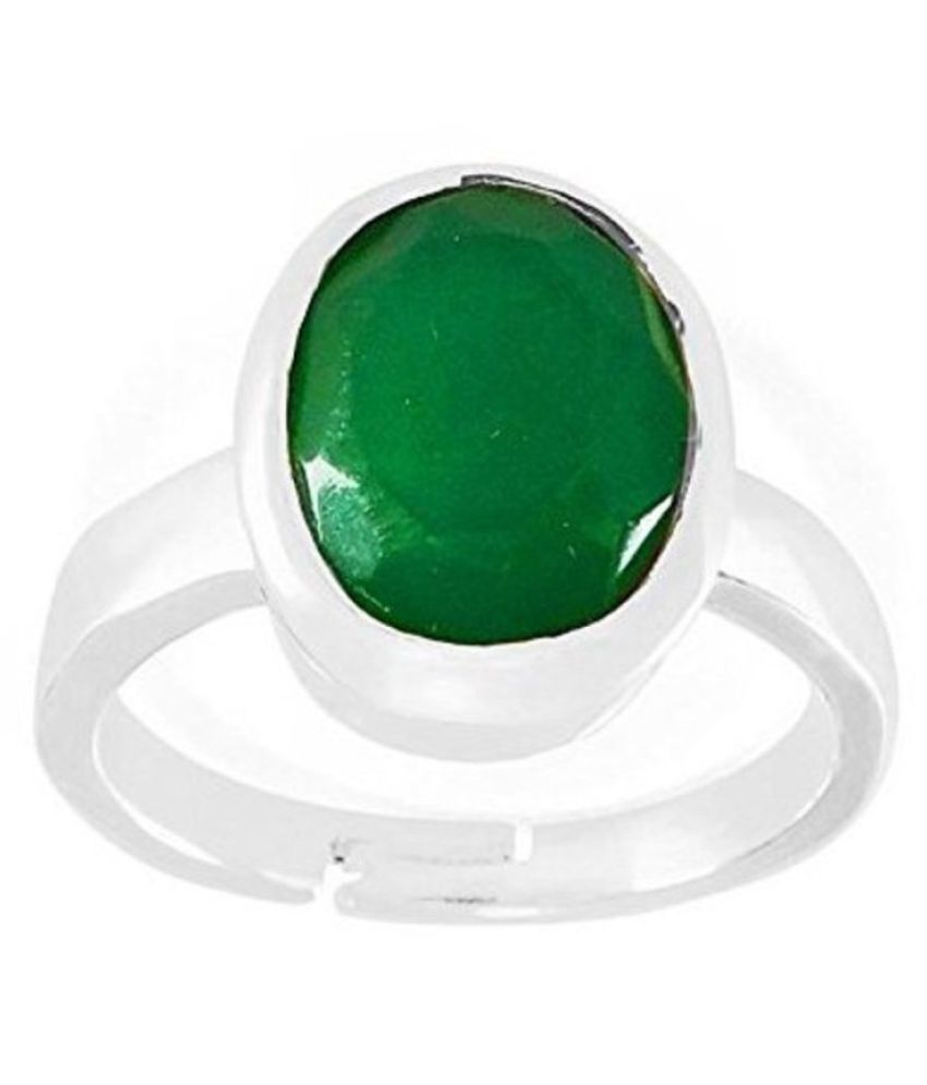 11.25 Carat Green Emerald Silver Unique Ring Original Natural Certified Oval Cut Panna Gemstone Antique Ring May Birthstone Zambian Columbia Silver Adjustable Ring Size 16-24