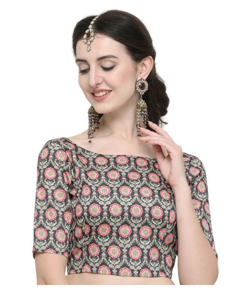 Janasya Green Art Silk Readymade without Pad Blouse