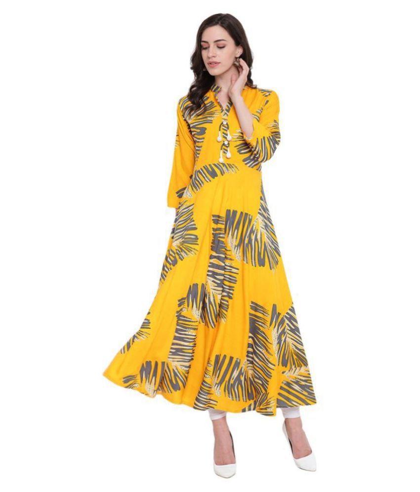 BI AMMA Yellow Rayon A-line Kurti