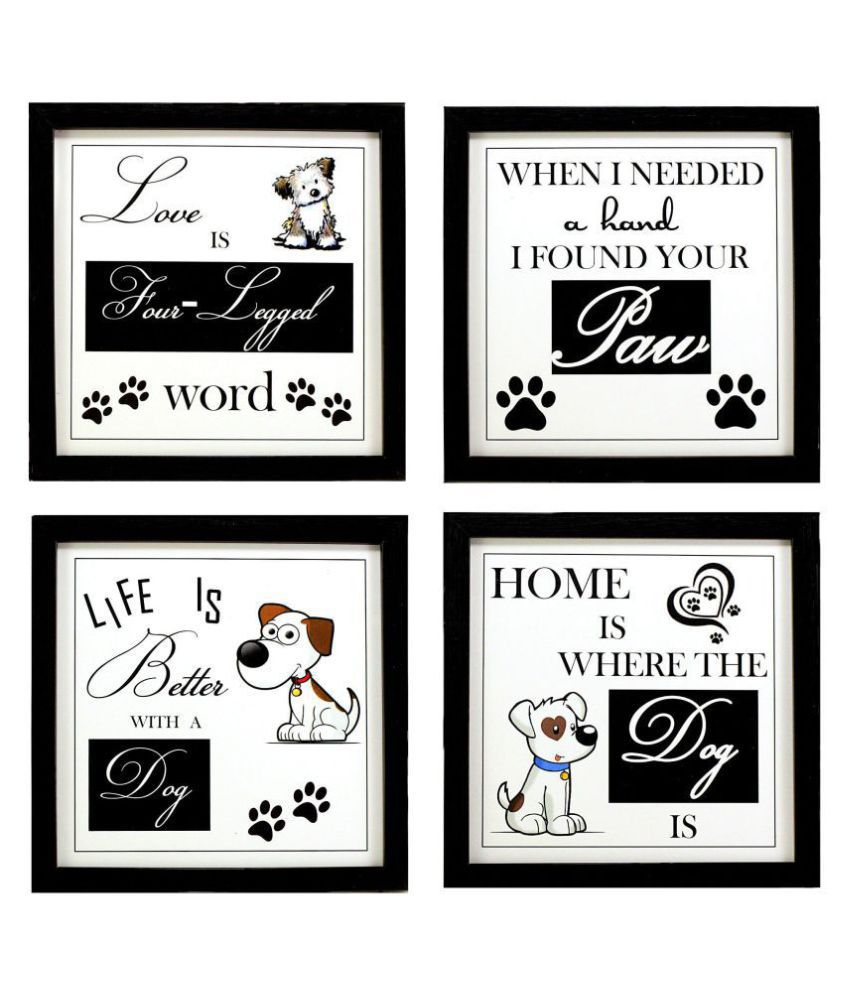 Indianara Pet Dog Décor Synthetic Painting With Frame