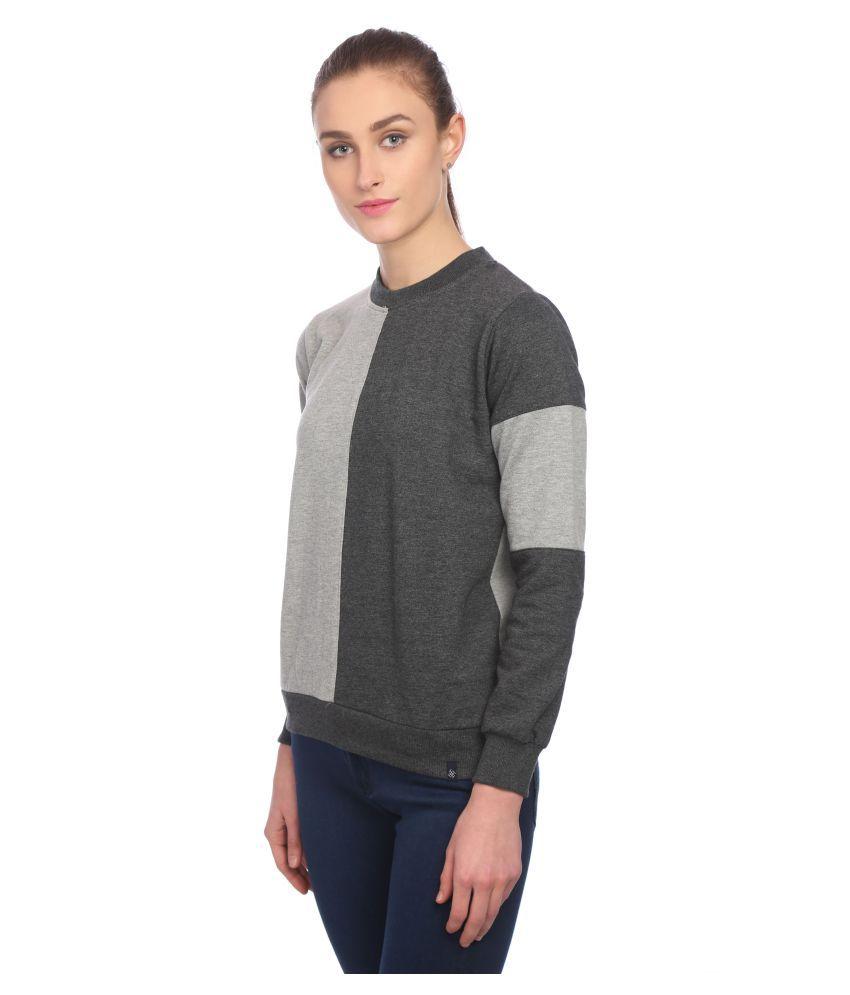 KAPOOR BROTHERS Woollen Grey Non Zippered Sweatshirt