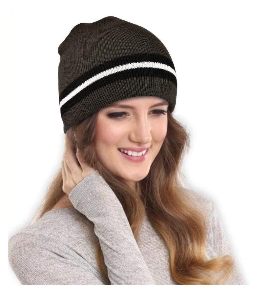 DRUNKEN Women's Winter Cap for Women Winter Cap Dark Green Warm Woollen Beanie Cap