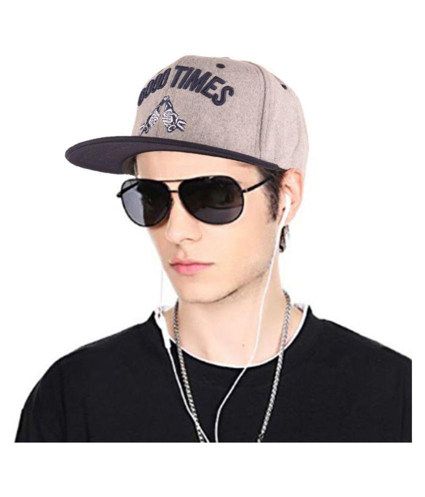 Men's Good Times Fleece Snapback Hip Hop Cap Dark Grey Freesize