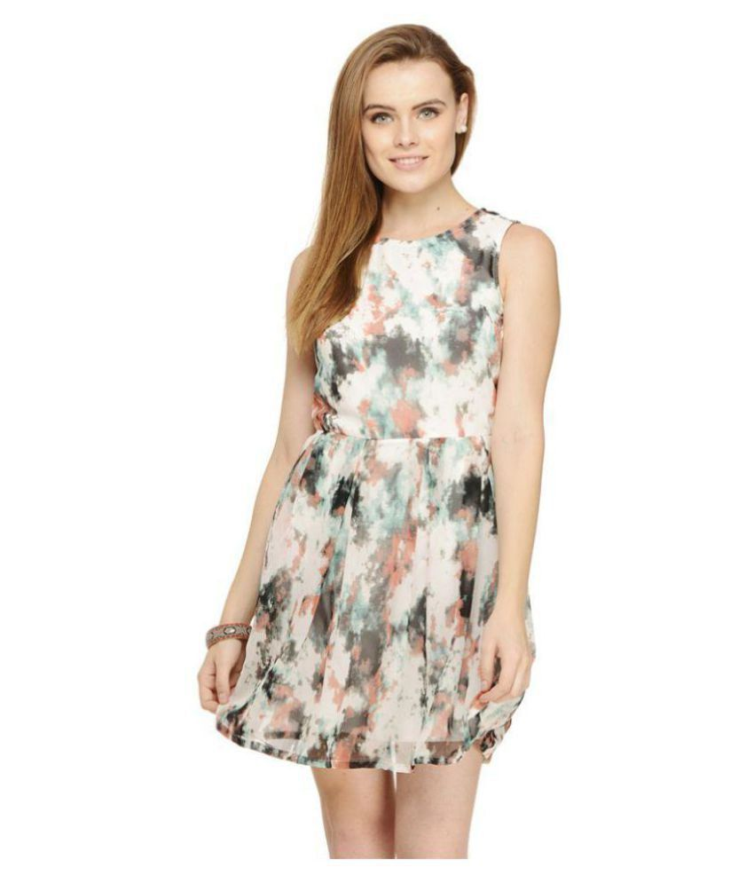 cattleya Georgette Multi Color Fit And Flare Dress