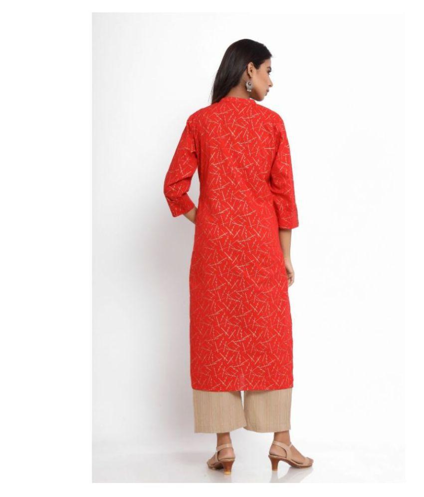 Craft N Craft india Red Cotton Straight Kurti