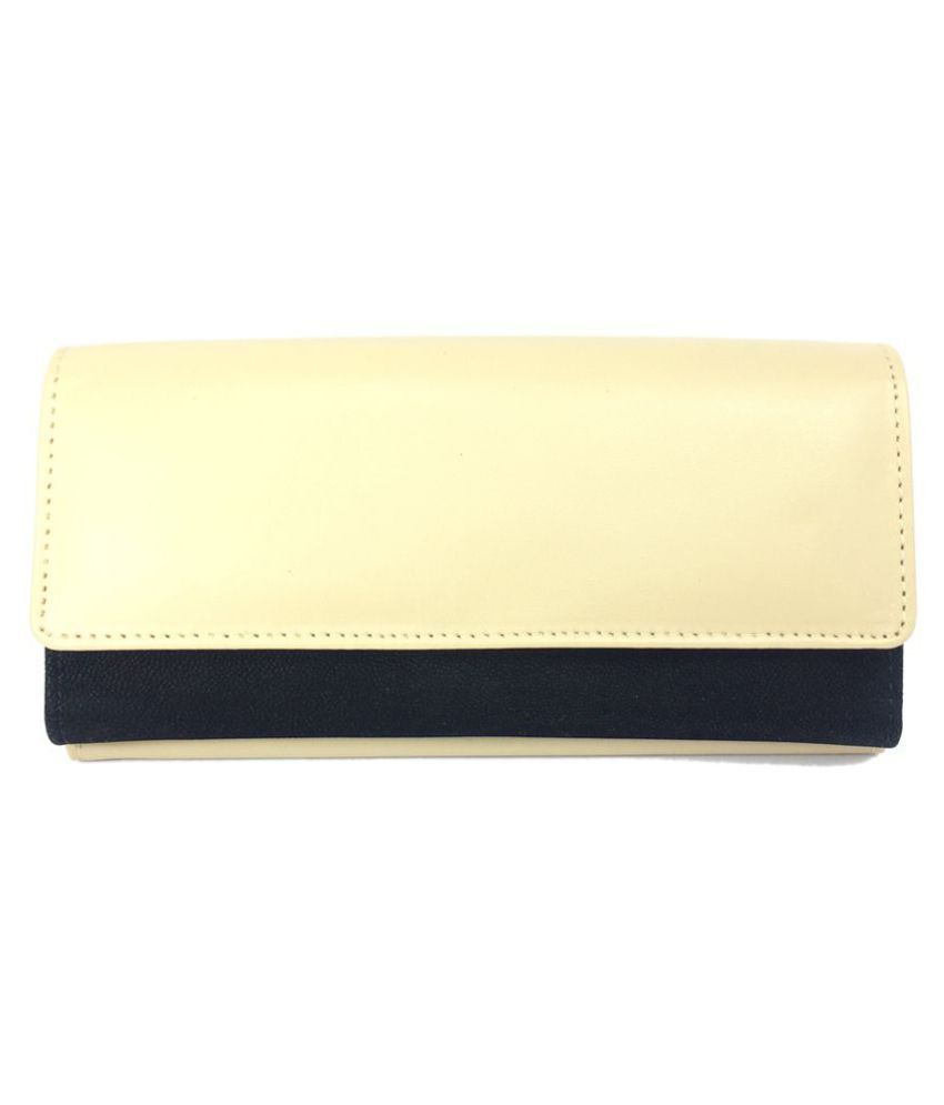 Goodwill Leather Art Beige Faux Leather Box Clutch