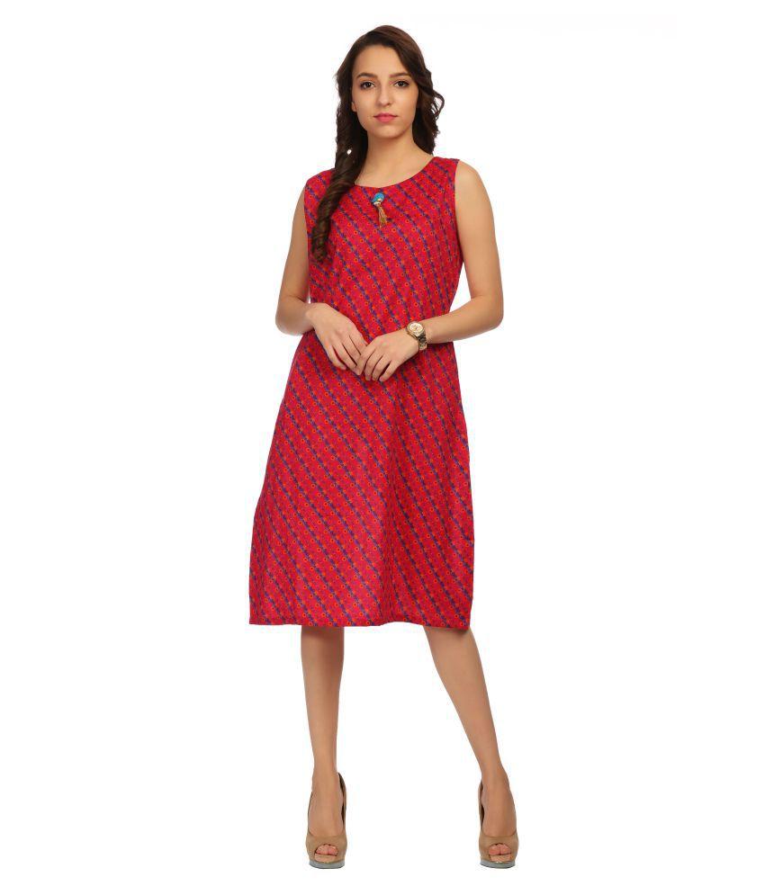 Veronique Cotton Pink A- line Dress