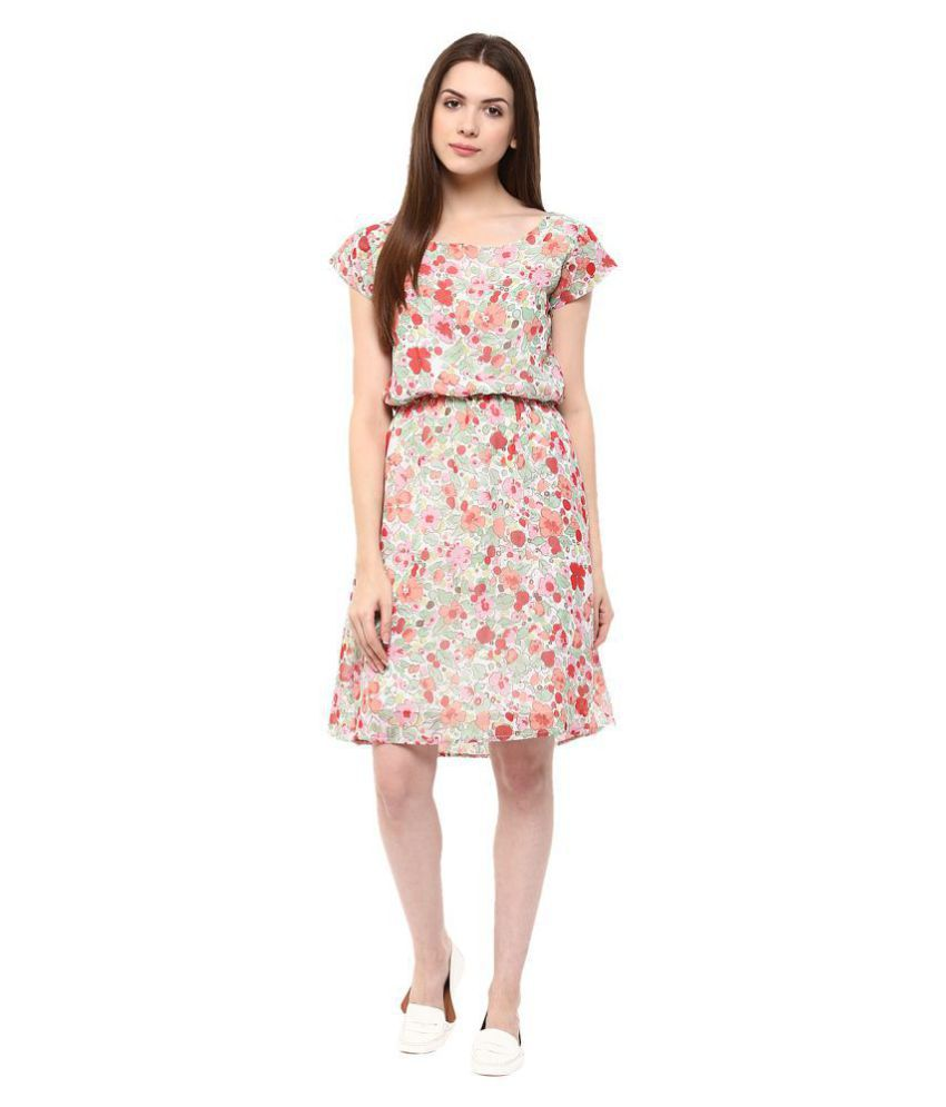 Veronique Crepe Multi Color A- line Dress