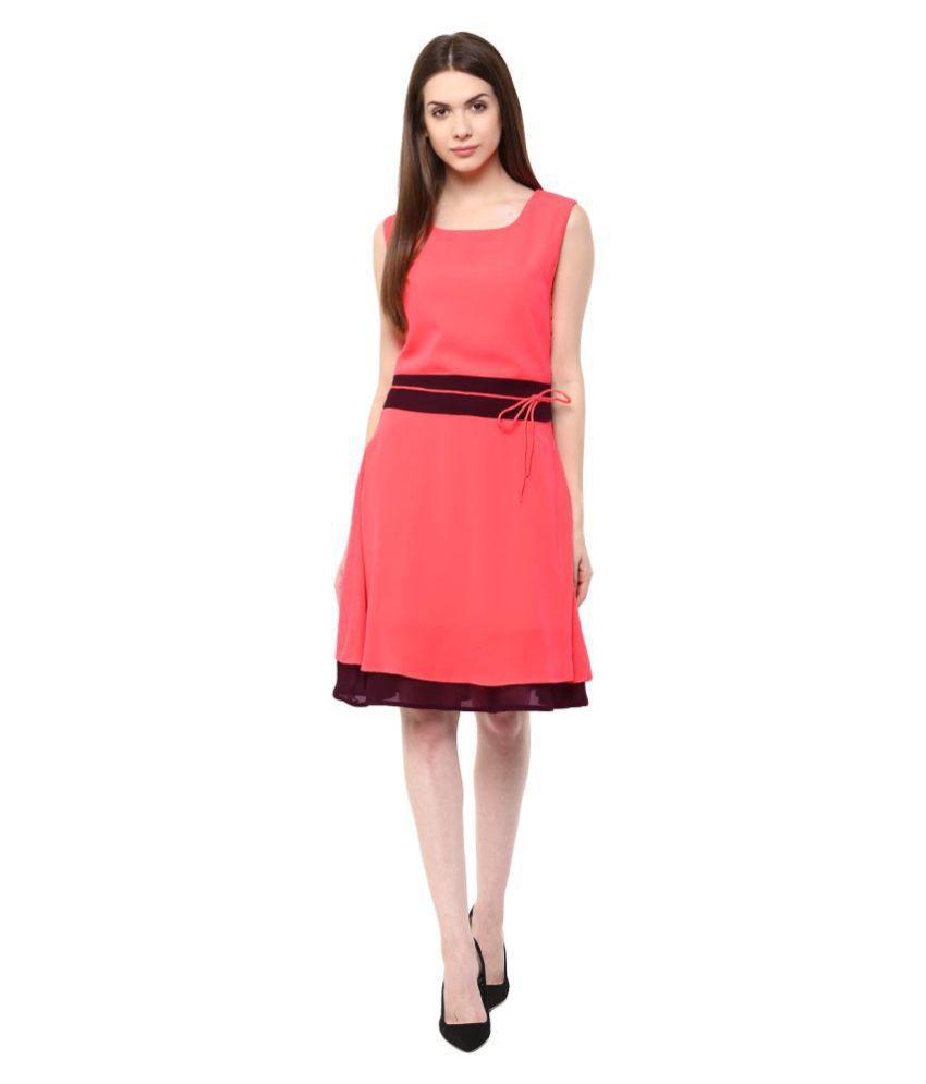 Veronique Georgette Pink A- line Dress
