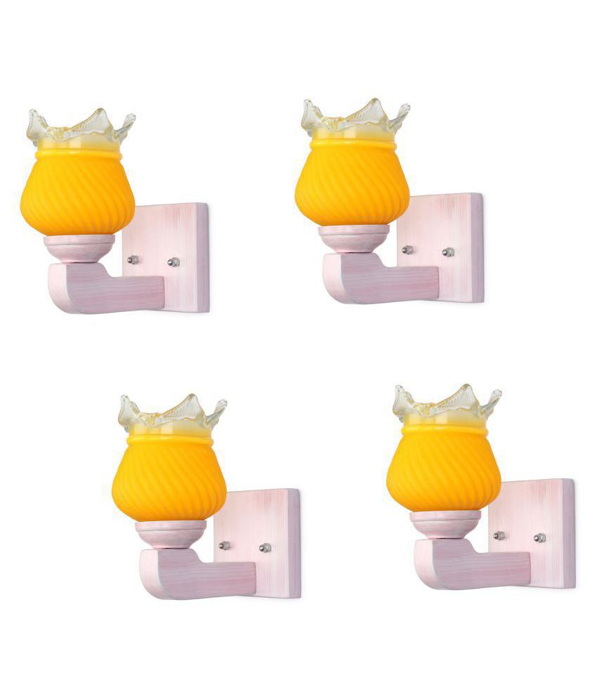 Somil Decorative Wall Lamp Light Glass Wall Light Yellow - Pack of 4
