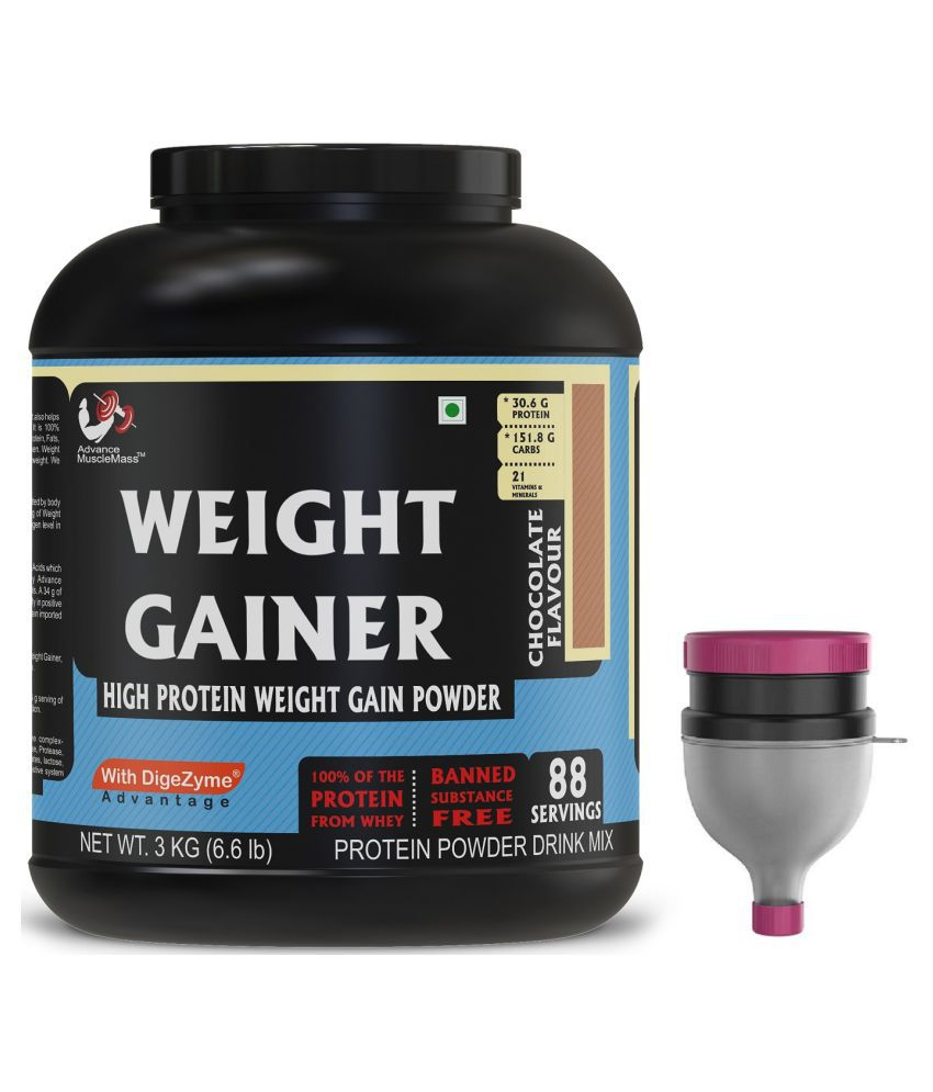 Advance MuscleMass Weight Gainer Chocolate Enzyme Blend with Funnel 3 kg Weight Gainer Powder