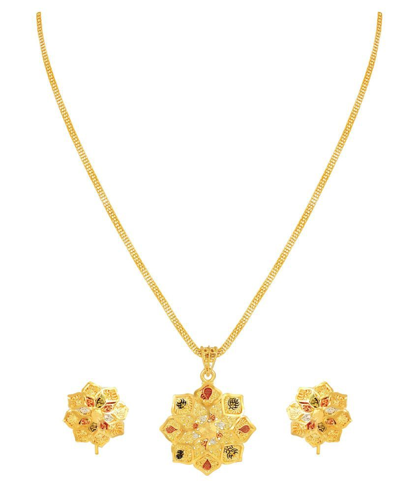 Asmitta Classy Flower Design Enamel Work Gold Plated Brass Pendant Set For Women