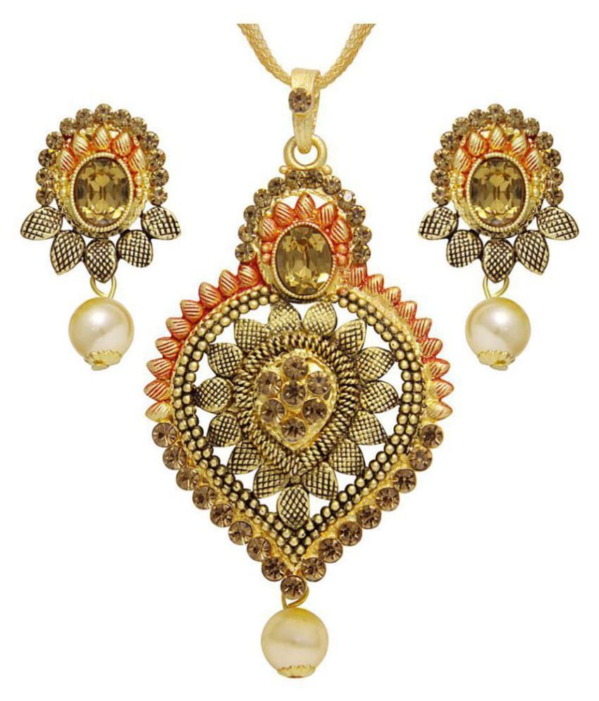 Asmitta Graceful Leaf Design Gold Plated With LCT Stone Pendant Set For Women