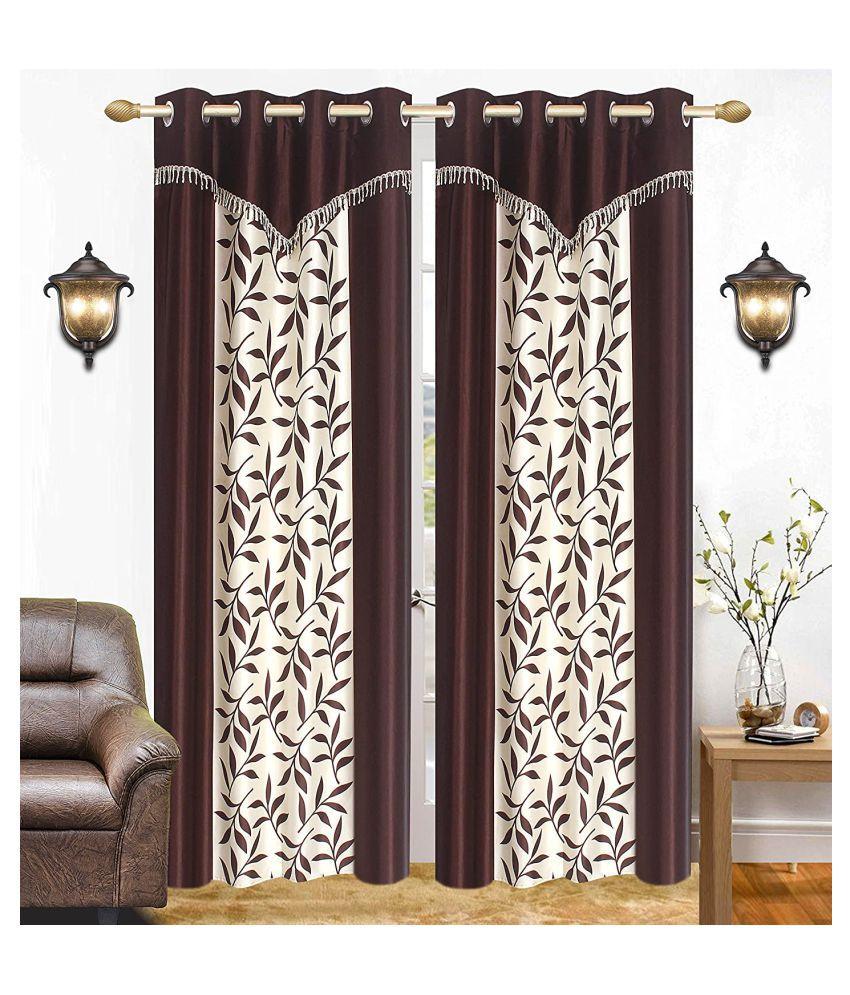 BM Creation Set of 2 Long Door Semi-Transparent Eyelet Polyester Curtains Brown