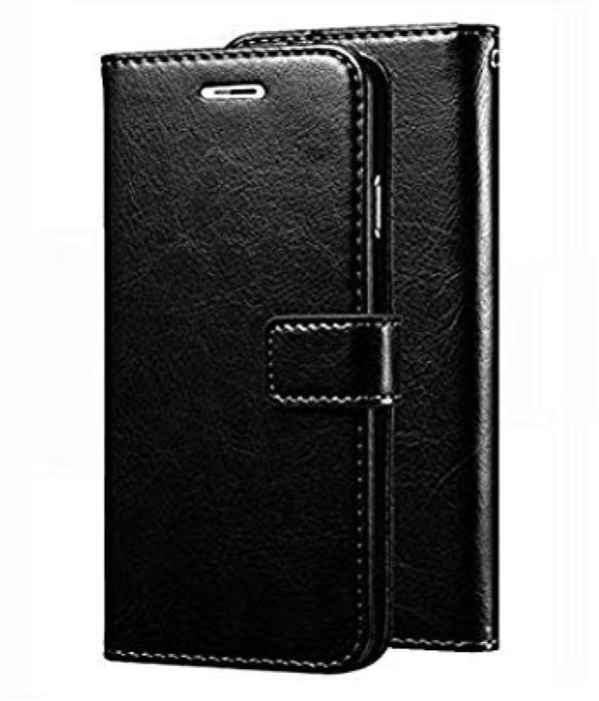 Xiaomi Redmi Note 4 Flip Cover by Doyen Creations   Black Original Vintage Look Leather Wallet Case